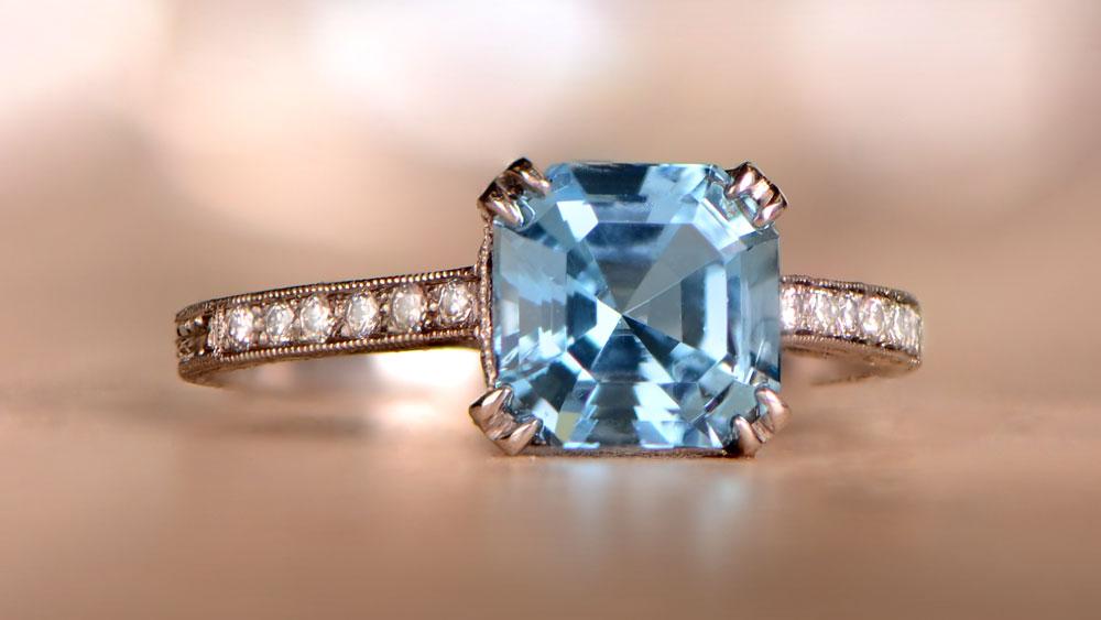 Aquamarine and Diamond Engagement Ring 12837-Artistic