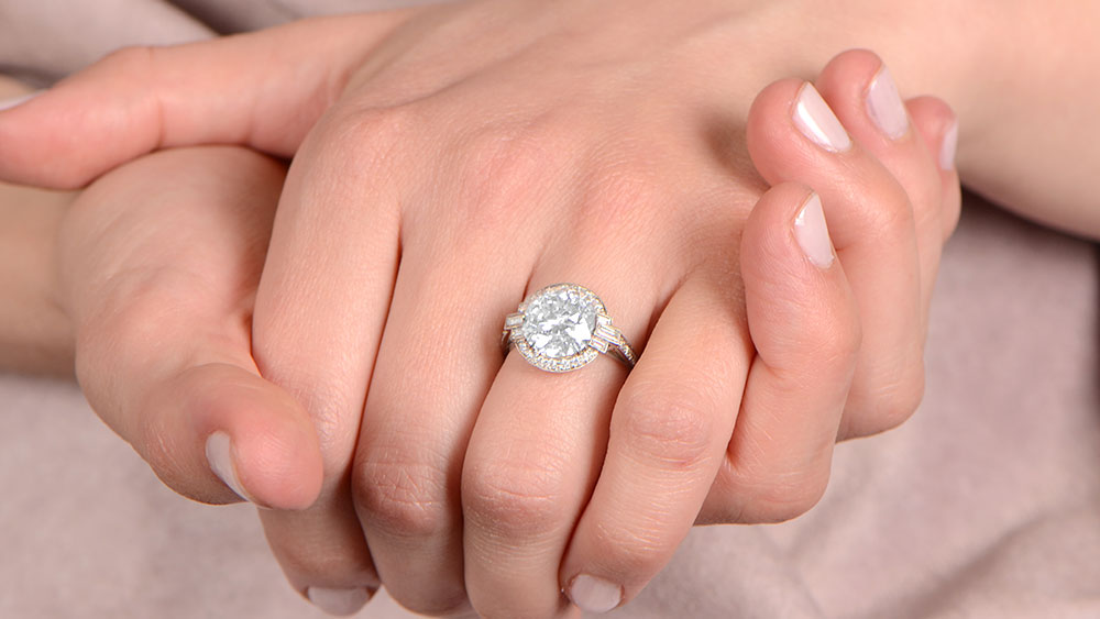12358 Diamond Engagement Ring on Finger