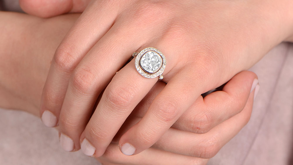 12861 Halo Diamond Engagement Ring on Fat Fingers
