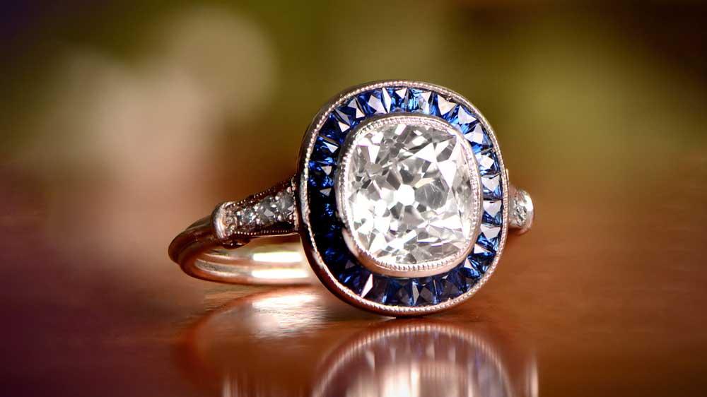 Diamond and Sapphire Halo 12713 Artistic
