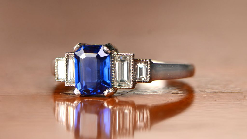 GS306 Sapphire and Diamond Engagement Ring