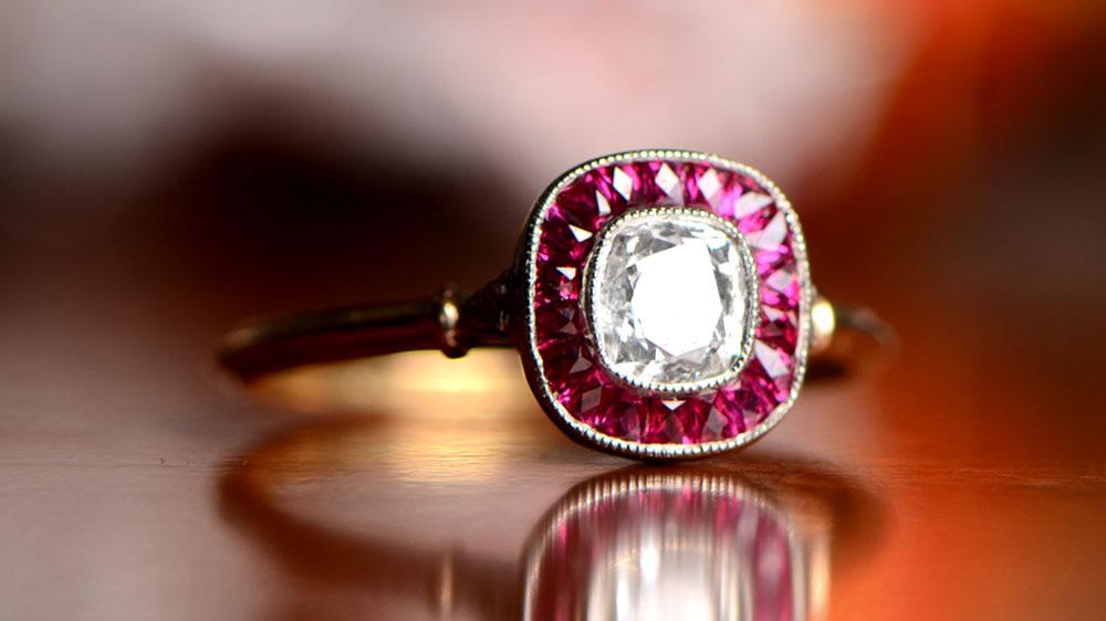 GS411 Diamond Engagment Ring Ruby Halo Artistic