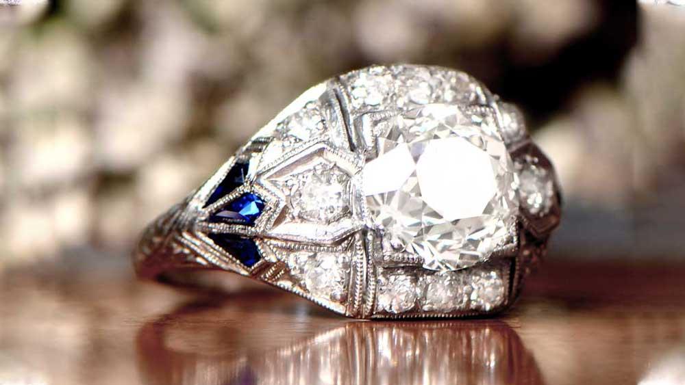 11960 Diamond and Sapphire Engagement Ring