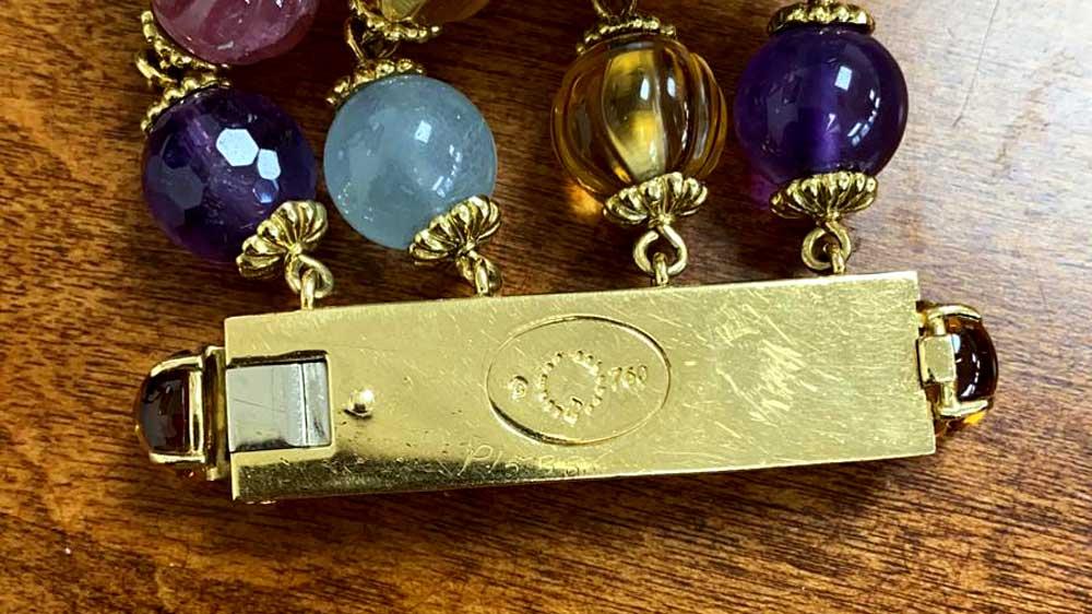 Gold Gemstone Bracelet with Hallmark Stamps on Back