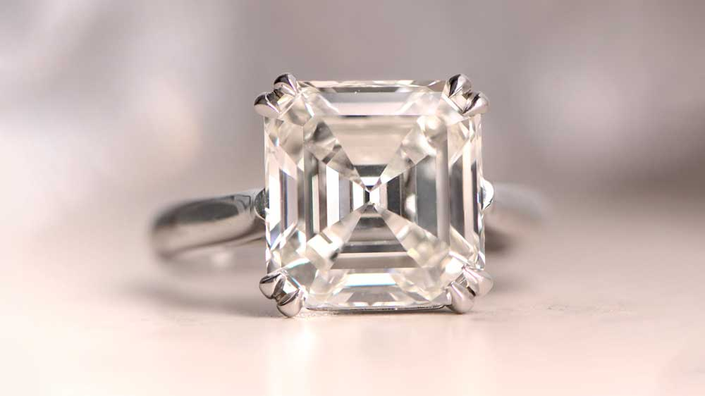 Six Carat Diamond Engagement Ring Asscher cut SB8908-Artistic